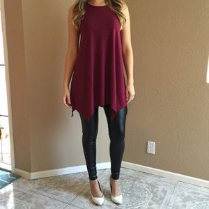 Tops - Burgundy Trapeze Sleeveless Tunic (LAST SMALL!)