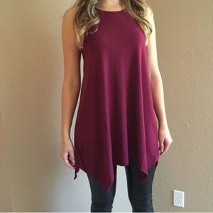 Tops - Burgundy Trapeze Sleeveless Tunic