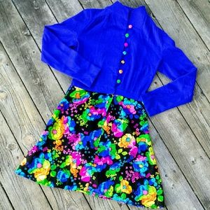 Vintage Dresses & Skirts - Retro Vintage Vibrant Floral Dress