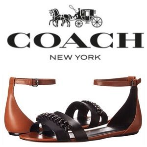 Coach Shoes - New Coach Seabreeze Chain Calf Leather Sandals, 8