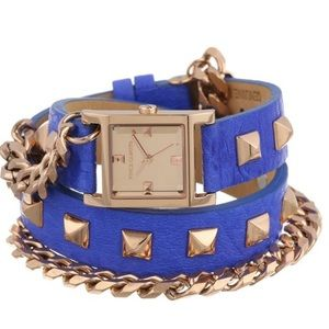 Vince Camuto Accessories - Vince Camuto Rose Gold Wrap Blue Leather Watch