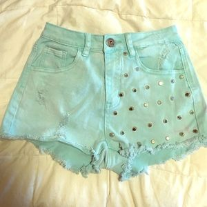 Mint denim shorts with studs