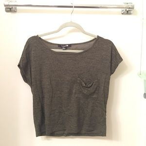 Heather Olive green Cropped Tee