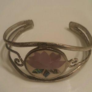 Mexican Silver Cuff Bracelet Lotus Flower