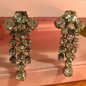Vintage Rhinestone Dangle Silvertone Earrings Clip