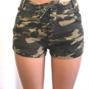 Lace up camo shorts