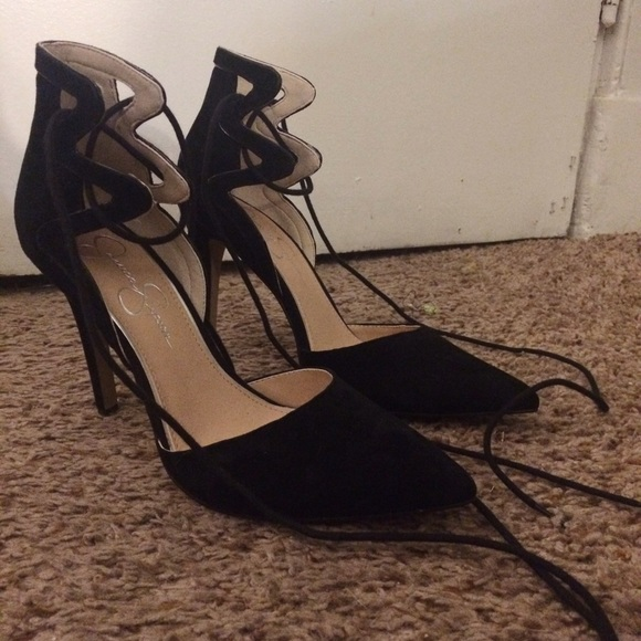 00b8762119 Jessica Simpson Shoes - Jessica Simpson suede lace-up high heels