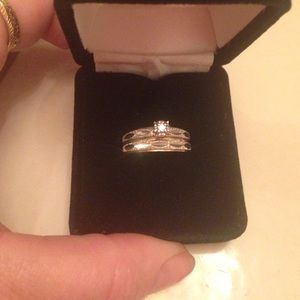 Jewelry - Vintage 10-14k white gold and gold wedding set