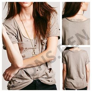FREE PEOPLE SHREDDED DESTROYED TOMMY TEE TAUPE
