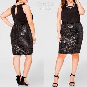 Ashley Stewart Blouson Sequin Dress Plus Size