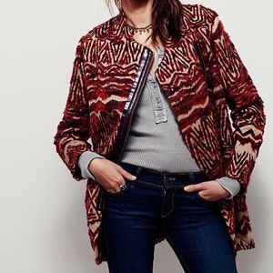 Free People Red Tribal Pattern Faux Fur Coat