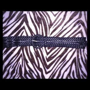 Black woven wide belt
