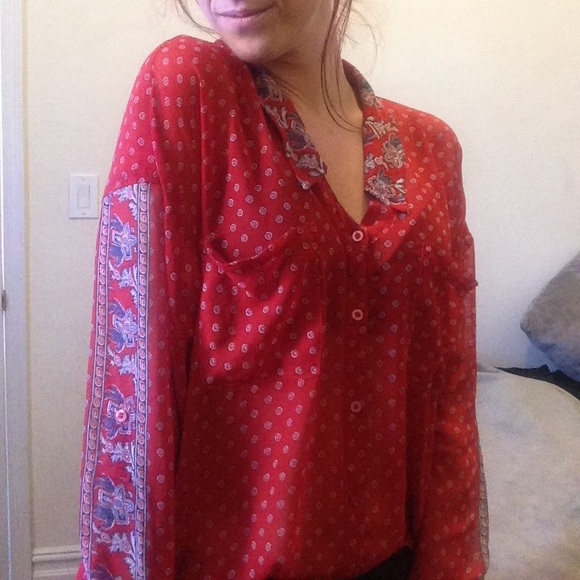 Free People Tops Sale Red Paisley Boho Blouse Poshmark