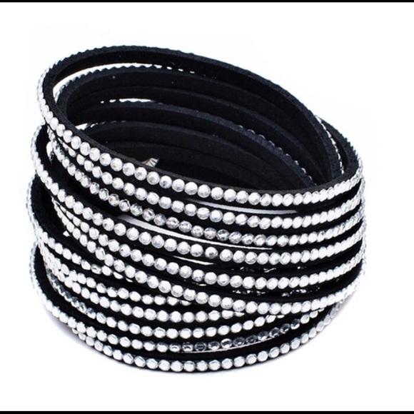 9a1bbe077 Swarovski Jewelry | Vegan Leather Crystal Wrap Bracelet | Poshmark