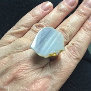 ⚪️Genuine Stone Ring with Gold Tone Accents ⚪️