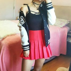 Wine Red Tennis Skirt