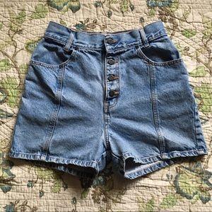 Vintage 90s grunge high waisted denim shorts.
