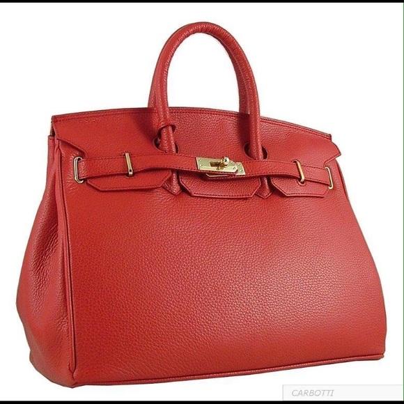 b82682eefd5 Carbotti Bags   35cm Redleather Birkin Style Bag   Poshmark