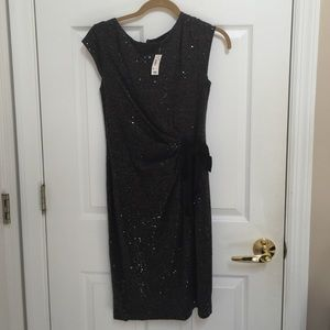 Dark gray sequin waist tie dress from the limited