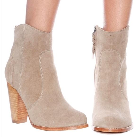Joie Dalton Suede Booties Boots Cement