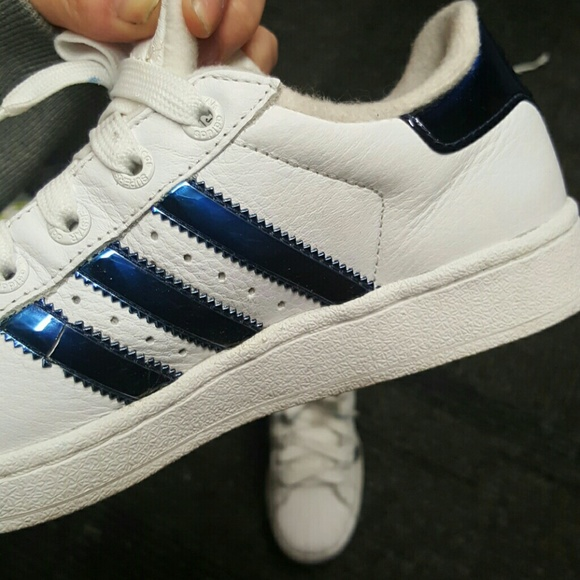 adidas superstar metallic blue stripes