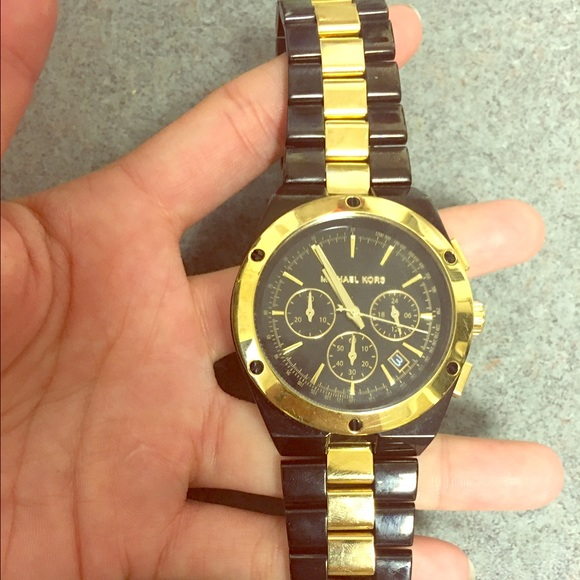 61% off michael kors other black and gold mens michael kors black and gold mens michael kors watch