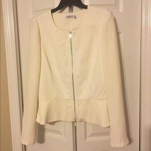 NWT JustFab Peplum Off-White Jacket - Size XL
