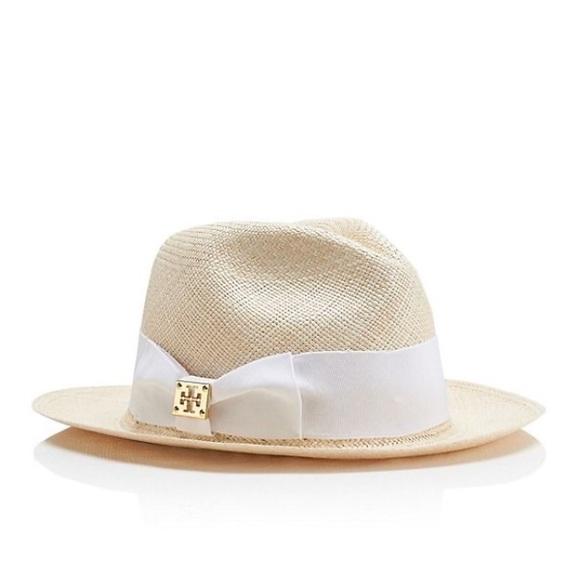948b366de23f9 Tory burch straw fedora hat white grosgrain ribbon.  M 570d2e0d6d64bcc2c6093ab6