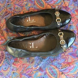 AGL BLACK LEATHER BALLET FLATS SIZE 8M