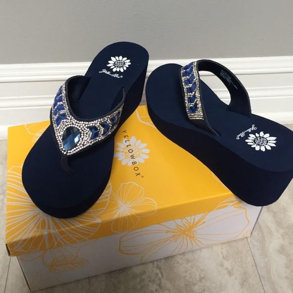 c081f8fb7ca8 Yellow box Belmac navy crystal wedge sandal