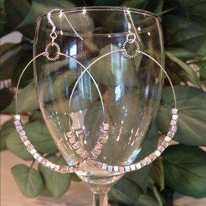 Jewelry - Silver cube hoop earrings