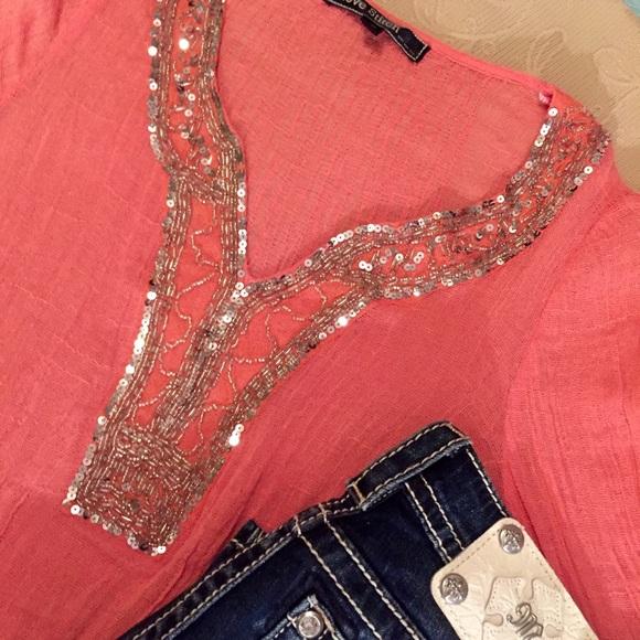 Love Stitch Tops - Sparkling Embellished Stretchy Gauze Tunic