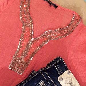 Sparkling Embellished Stretchy Gauze Tunic