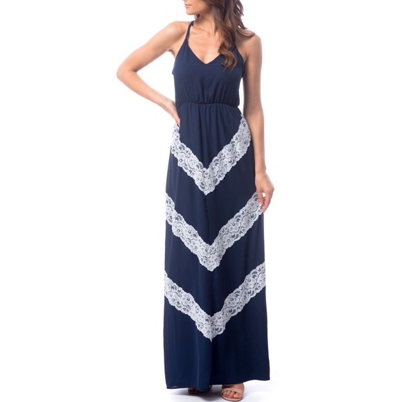 Chevron and Lace Maxi Dress