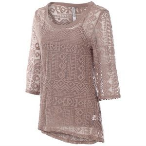 Navajo Lace Top (Taupe or White) w/Matching Cami