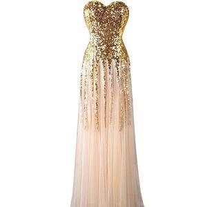 NWT Gold Goddess Prom Dress