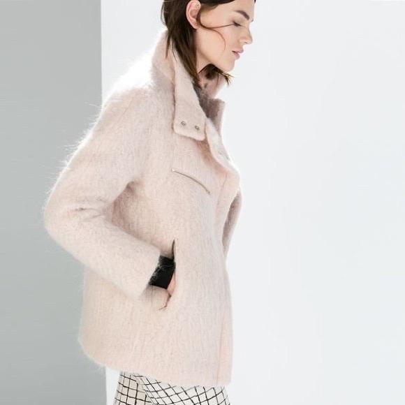 75% off Zara Jackets & Blazers - Zara mohair coat in baby pink ...