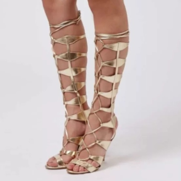 38% off Topshop Shoes - Gold Gladiator Heels from Hapa's closet on ...