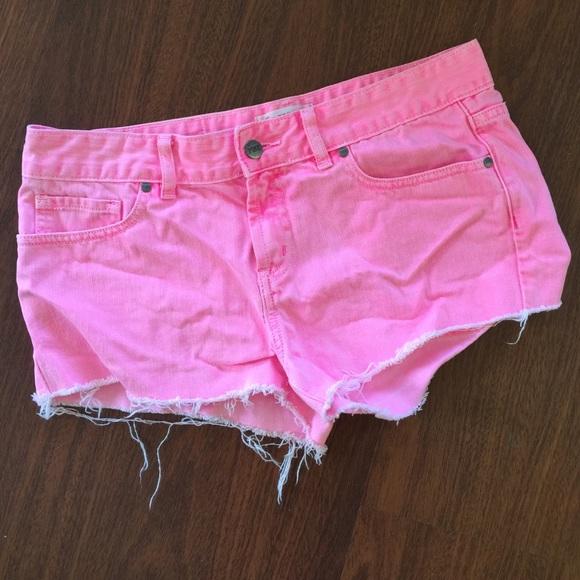 74% off PINK Victoria's Secret Pants - VS Pink Hot Pink Denim Cut ...