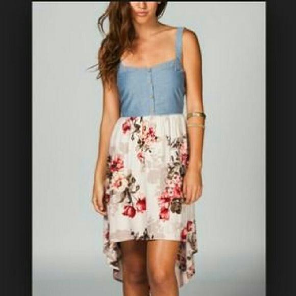 7492800d40 Denim Bustier Retro Floral Print Skirt Twofer