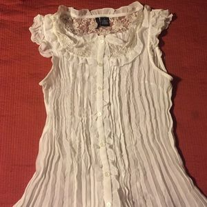 new directions Tops - Sweet lace and ruffle button down tank top