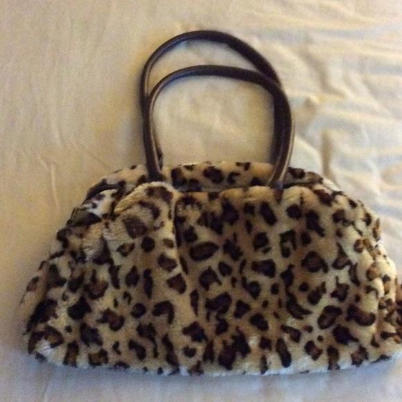 Bags | Leopard Print Faux Fur Handbag