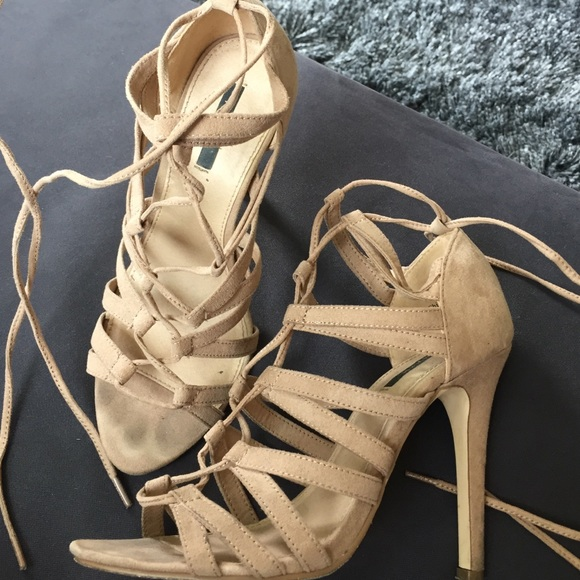 0d5fdc95579 Forever 21 Shoes - Forever 21 faux suede lace up caged heel sandal