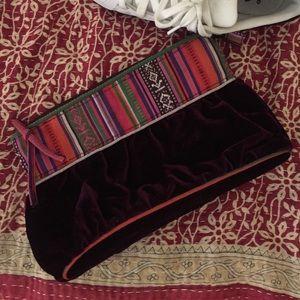 Velvet Tribal Print Clutch/Makeup Bag