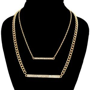 Jewelry - Gold Stone Bar Necklace