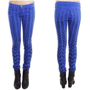 Current/Elliott: Cobalt Chevron Ankle Skinny