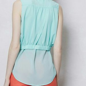 Anthropologie Tops - NWOT Faded Cyan Layered Button Down Sleeveless Top
