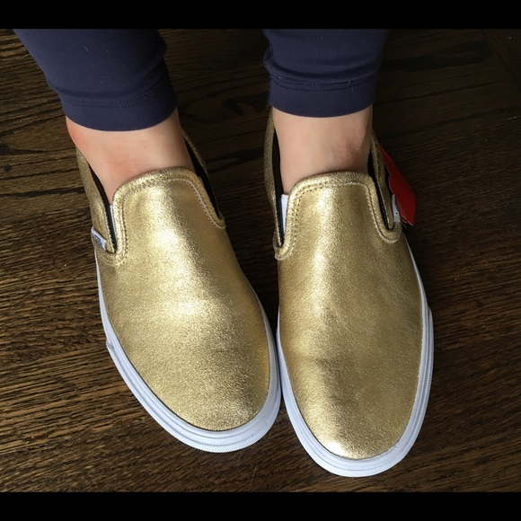 metallic gold slip on vans