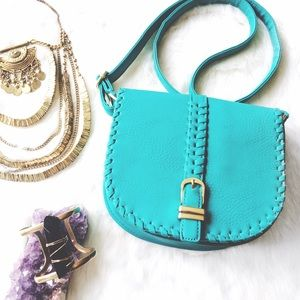 Handbags - Teal Leather Crossbody Satchel Gold Hardware