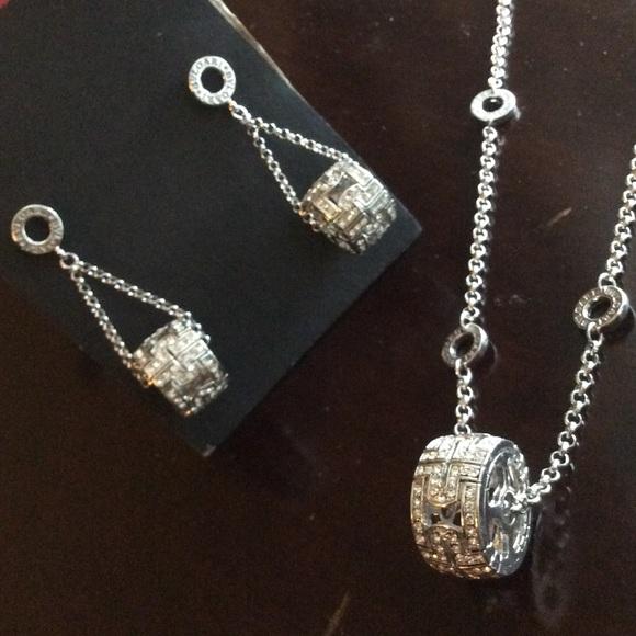 bulgari jewelry bvlgari necklace and dangle earrings silver set